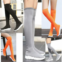 Boots Women Stretchy Knitting Over Knee High Boots Thigh Fashion Sneakers Flats