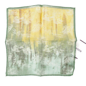 NWT RODA Floral Printed Lightweight Linen Pocket Square Yellow-Green