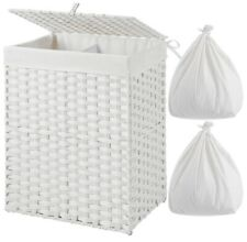 Hand-woven Laundry Hamper Removable Liner Bag Synthetic Rattan Basket Nib White
