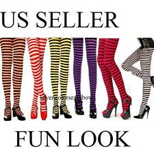Plus Size Fun Look Gothic Opaque Striped Tights OS Queen XL 1X 2X lingerie M7471