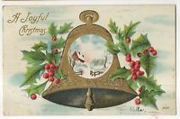 """A Joyful Christmas"" Large Bell with Holly, Snow, Antique Christmas Postcard"