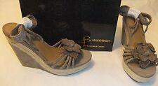 B. MAKOWSKY Marione Tan Wedge Sandal Size 9 NIB $160