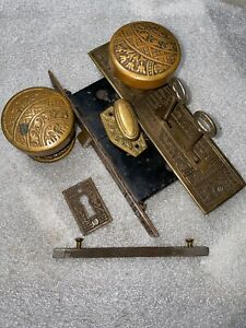Corbin 'Ceylon' Cast Brass Door Knob Set Antique Circa 1900, nice Lockset
