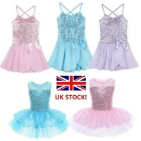 UK Kids Girls Ballet Dance Dress Tutu Skirt Gymnastics Fairy Dancewear Costumes