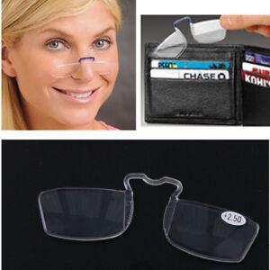 Man Women Pocket Clip On Nose Mini Presbyopic Reading Glasses +1.00 ~ +3.00