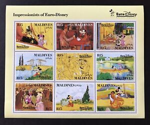 MALDIVES IMPRESSIONISTS OF EURO DISNEY STAMP SHEET 9V 1992 MNH PARIS DISNEYLAND