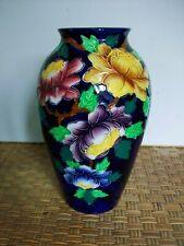 """Maling Art Deco Vintage Cobalt Blue PEONA Victoria Floral 8 1/4"""" Vase England"""