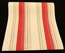 13274-10-) hochwertige Design Vliestapete Streifen Tapete grau - rot - silber