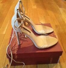 New NIB Liliana Roma-5 Nude Color Tan Sandals Ties Around Ankle Shoes Size 8