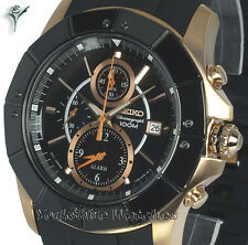 New SEIKO LORD BLACK n GOLD CHRONO With Rubber Buckle Strap SNAD04P1