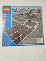 Lego 7280 City 5+ NEW Dark Gray Street Baseplates Straight/Intersection 2 Pieces