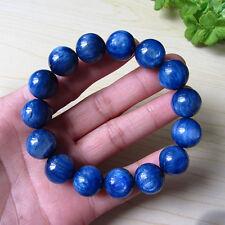 14mm Natural Blue Kyanite Crystal Cat Eye Beads Stretch Bracelet AAA