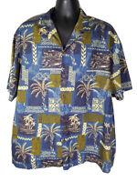 Royal Creations 2XL Hawaiian Aloha Shirt Blue Tropical Ukulele Palm Trees
