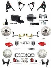 1967-69 Camaro Red Wilwood Calipers Front Rear Power Disc Brake Kit Control Arms