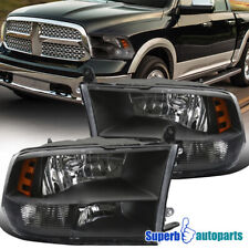 For 2009-2018 Dodge Ram 1500 2500 3500 Quad Headlight Head Lamps Black
