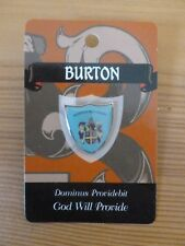 Crest **BURTON FAMILY PIN BADGE** Coat of Arms Brooch Motto Meaning BNIP NEW