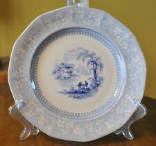 "Antique Blue Transferware Ironstone Staffordshire Plate J&G Alcock ""Vintage"""