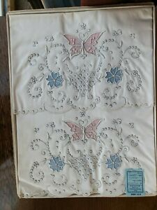 Vintage Pair Pink Blue Embroidered Madeira Pillowcases in box.