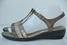 ECCO Womens Sz 38 / 7 - 7.5 Taupe Cream Gold Leather Strappy Sandals NICE!!