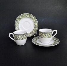 Turkish Demitasse Espresso Cups & Saucers Porcelain Gural Porselen Set(s) Leaves