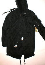 New NWT Womens Long Parka Sherpa Designer True Religion Jeans Black XS Hood Coat
