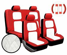 Premium 13 Piece Luxury Red & White Universal Faux Leather Car Seat Cover Set