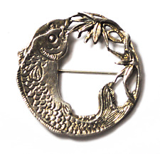 Peggy Yunque Sterling Silver Brooch Pin Round Fish Plants 43mm 2002