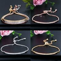 Women Copper Zircon Charm Bracelet Adjustable String Bangle Cuff Jewelry Gift