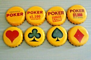 """SET OF 8 RARE """"POKER""""  USED BEER BOTTLE CAPS FROM COLOMBIA"""