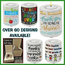 Personalised Teacher Tea Candle Holder - Thank you Gift Idea - Any Text - School