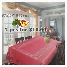 """Clearance **2 Pcs For $10.00**  XMAS TABLE CLOTH 60x104"""" 8-10 SEAT RECTANGLE"""