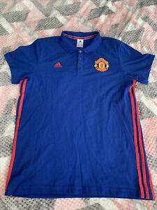 Manchester United Training Football Polo Shirt Jersey Adidas Man Utd Size L