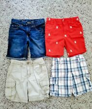 Toddler Boys Lot of 4 Casual Shorts - Jeans, Orange Skull Bones, Plaid, Tan 3T