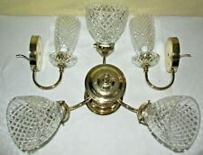 Vintage Crystal & Brass-Finish Ceiling Light Fixture and 2 Matching Sconces~USA