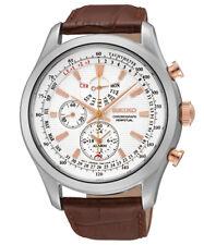 SEIKO SPC129P1 Chronograph Chrono Herren Leder Armband Uhr  neu
