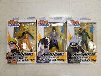 Bandai Anime Heroes Naruto Shippuden Kakashi, Naruto & Uchiha Sasuke - New