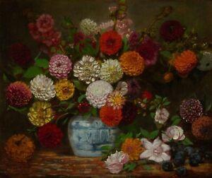 "Eugene Delacroix : ""Still Life with Dahlias, Zinnias"" (c.1835) — Fine Art Print"