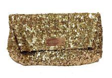 Victoria's Secret Clutch Evening Bag Gold Sequins Sparkly Formal Purse Pocket