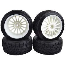 80mm RC 1/10 On-Road Rally Car Rubber white Tires & Wheel Rim HPI WR8 & HSP94177