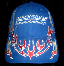 Quicksilver Remanufacturing Adjustable Strapback Cap Hat Blue- Red Yellow Flames