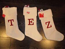 "Letter T or E or Z Knit Monogram CHRISTMAS Stocking Wondershop WHITE Target 18"""