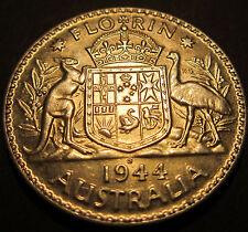 1944 S Australia 2/- Two Shillings Florin ** ERROR DIE CRACKS ** #43s-F =aUNC=
