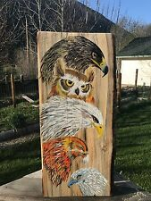 Birds of Prey Painting on blued wood. Approx. 24'x18'