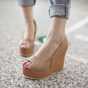 Women's Peep Toe Shoes Wedge High Heels Ladies Platform Synthetic Leather Pumps