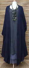 BELLA BLUE*OVERSIZE 100% COTTON 2 POCKETS CRINKLE LONG JACKET*DARK NAVY*L-XL-XXL