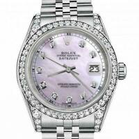 Rolex 26mm Datejust With custom Diamond bezel  SS Pink MOP Mother Of Pearl Dial