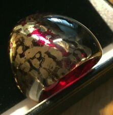 QVC Murano Wide Band Red Laguna Gold Foil Ring Size N