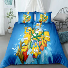 Single/Double/Queen/King Bed Anime Quilt/Doona/Duvet Cover Set The Simpsons Blue