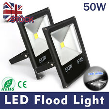 Pair 50W LED Floodlight Cool White Outdoor Garden Security Light Waterproof IP65