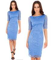 Goddess Blue Lace Short Sleeve Wiggle Knee Length Evening Party Cocktail Dress